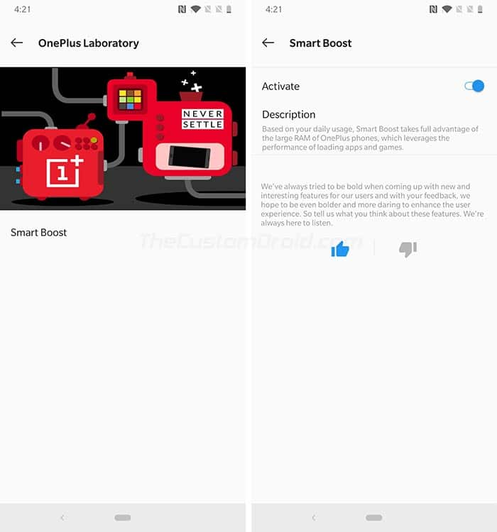 OnePlus 6T Smart Boost Feature
