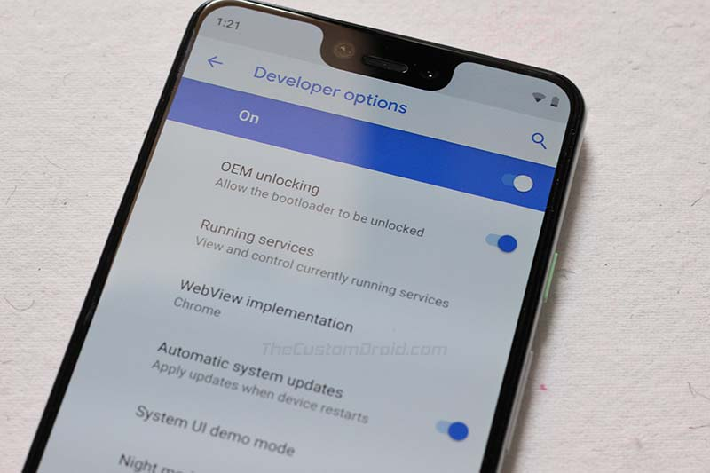 Enable OEM Unlocking on Google Pixel 3 XL