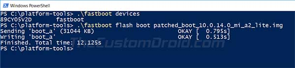 Flash Magisk Patched Boot Image on Xiaomi Mi A2/A2 Lite via fastboot