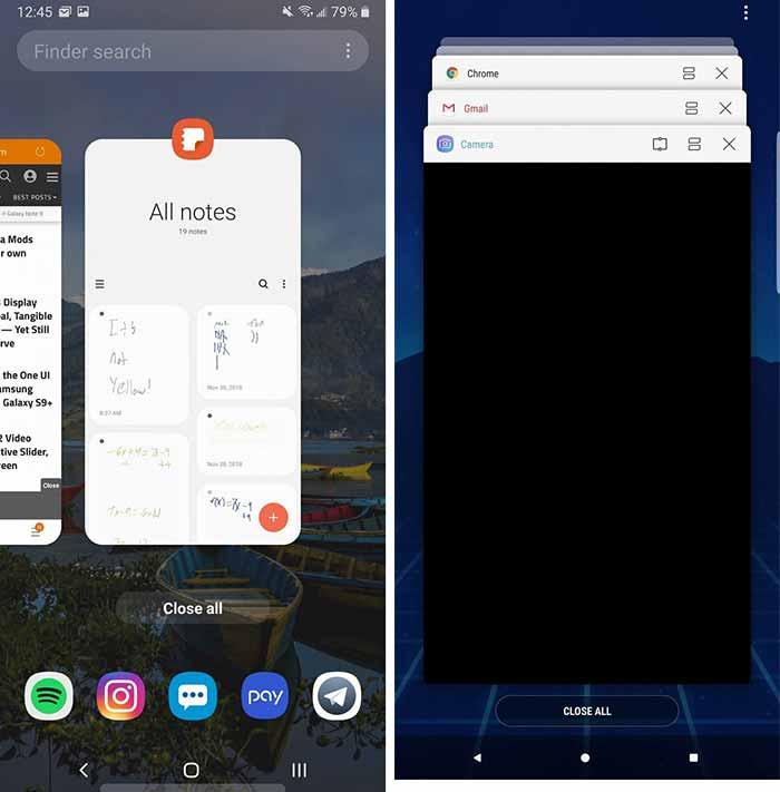 Galaxy Note 9 One UI - One UI vs Samsung Experience Multitasking