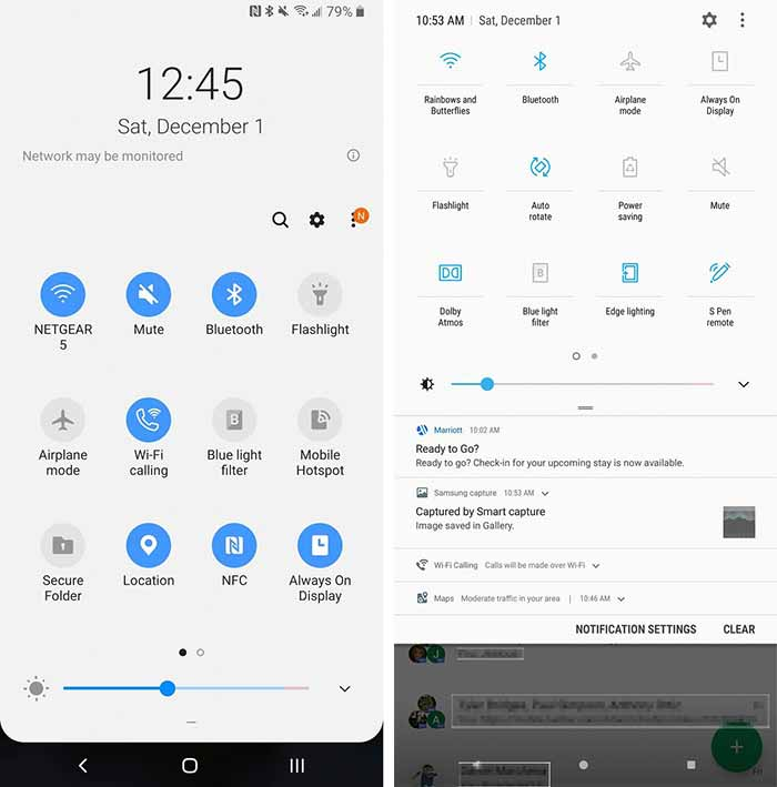 Galaxy Note 9 One UI - One UI vs Samsung Experience Quick Settings