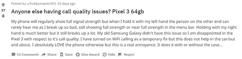 Google Pixel 3/3 XL Sound Quality and Contectivity Issue - Reddit Report
