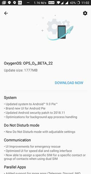 OnePlus 5 OxygenOS Open Beta 22 OTA Screenshot