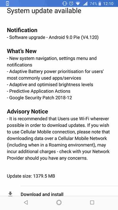 Nokia 8 Sirocco Android Pie OTA Update