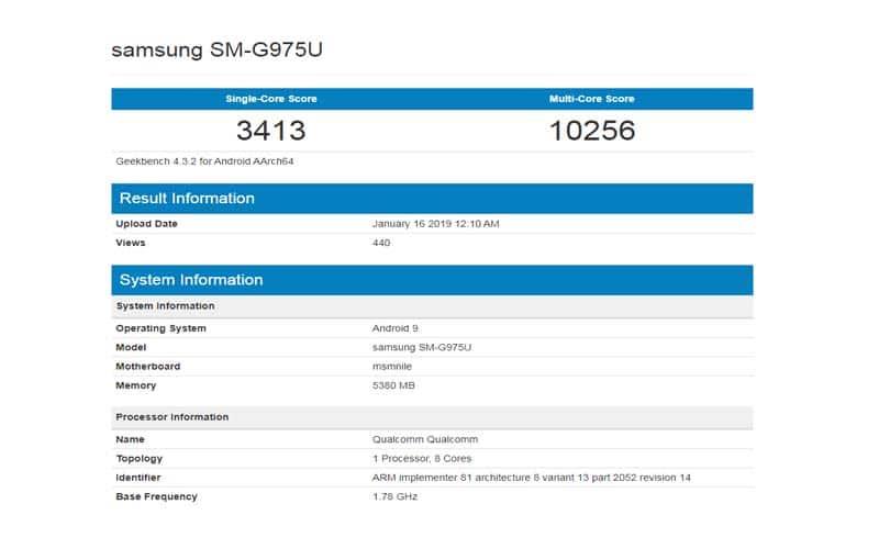 Galaxy S10 Plus GeekBench Listing