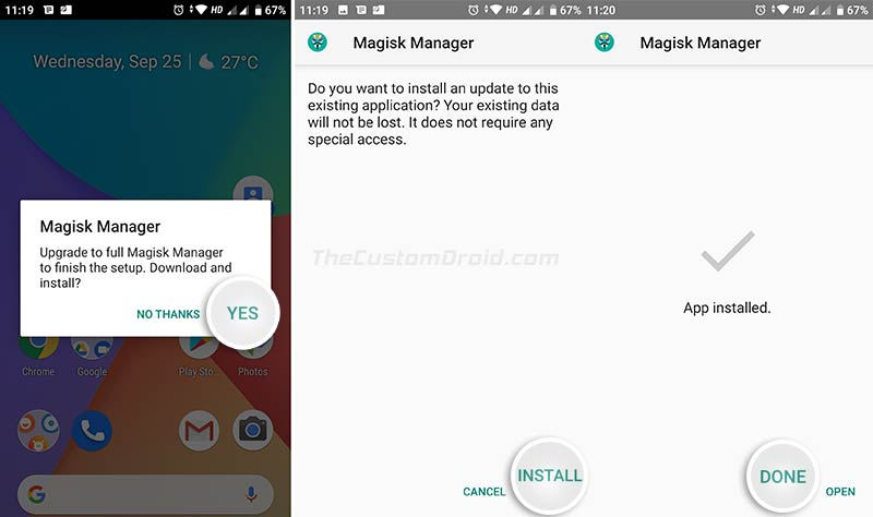 Upgrade to Full Magisk Manager on your Xiaomi Mi A2/A2 Lite when prompted