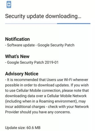 Nokia 7.1 January 2019 Security Update