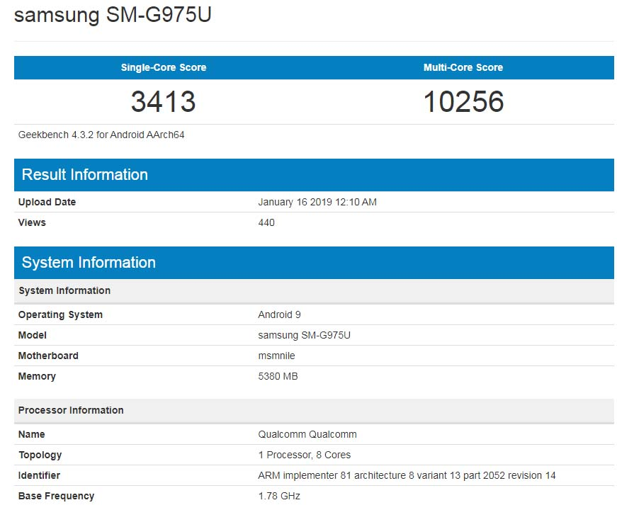 Galaxy S10 Plus GeekBench Listing