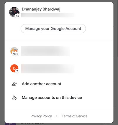 Gmail for Android Material Theme - Account Switcher