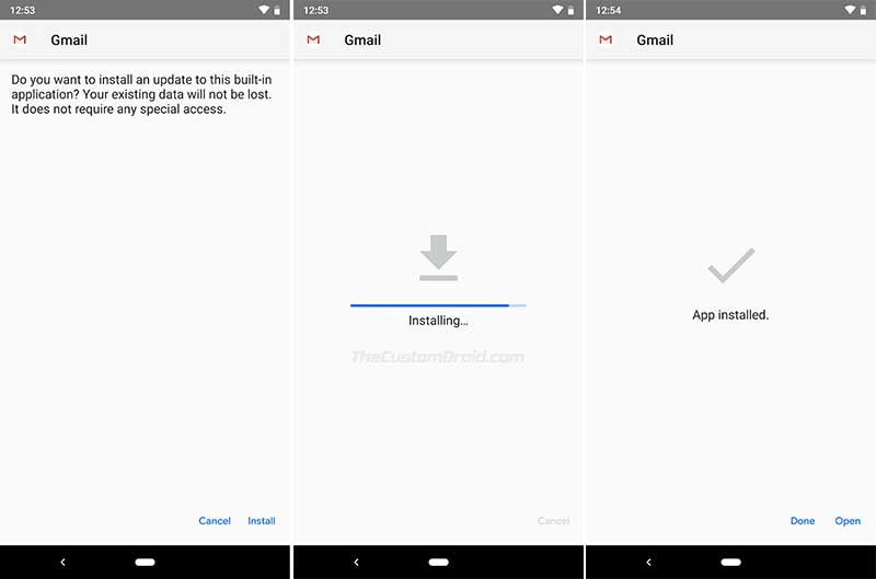 Install Gmail for Android v9.1 with Google Material UI Theme