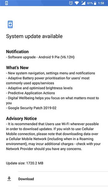 Nokia 6 (2017) Android Pie OTA Update - Screenshot
