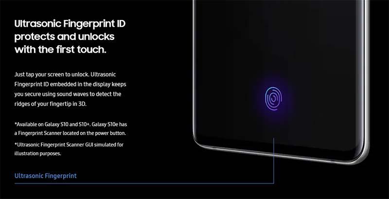 Samsung Galaxy S10 - Ультразвуковой датчик отпечатков пальцев на дисплее