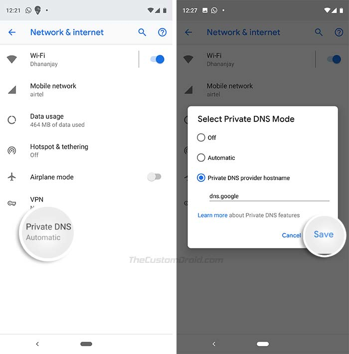Set up Google Public DNS over TLS on Android Pie Devices - Enter Private DNS Provider