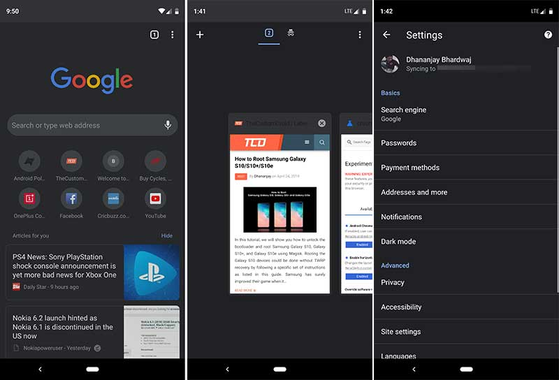 Google Chrome Dark Mode on Android