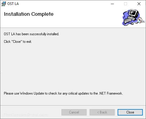 Close the Nokia OST LA Installer once the installation finishes