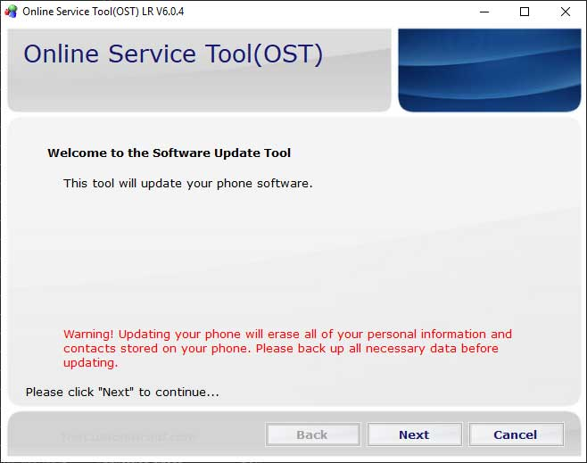 Launch Nokia Online Service Tool on PC