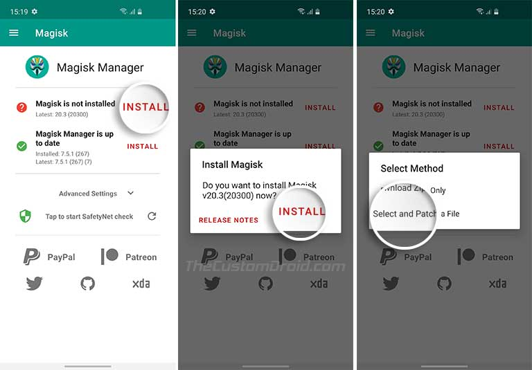 Root Samsung Galaxy S10 - Select AP Firmware File in Magisk Manager