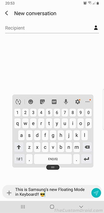 Samsung One UI Feature - Floating Mode in Samsung Keyboard