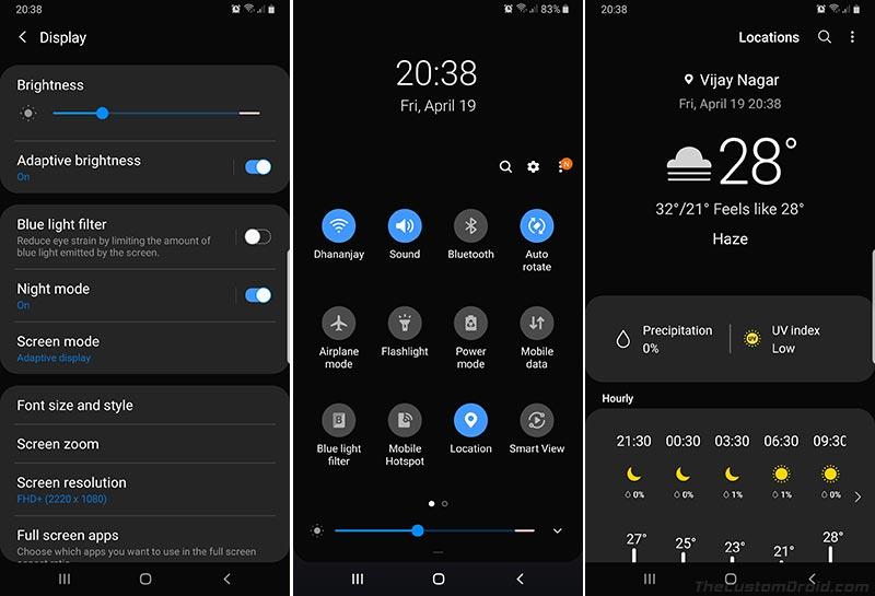 Samsung One UI Features - System-wide Dark Mode
