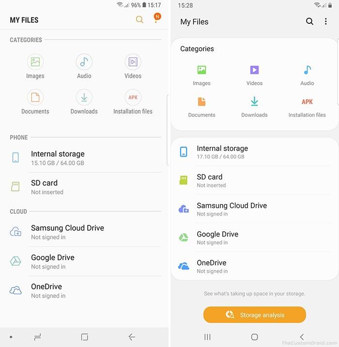 Samsung One UI vs Samsung Experience - My Files App