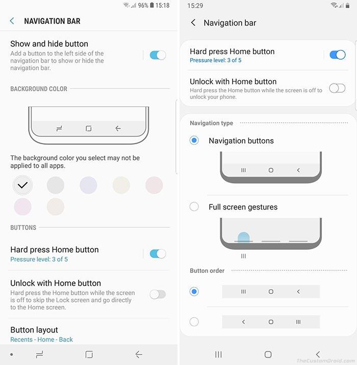 Samsung One UI vs Samsung Experience - Navigation Bar Settings