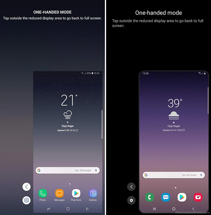 Samsung One UI vs Samsung Experience - One-Handed Mode