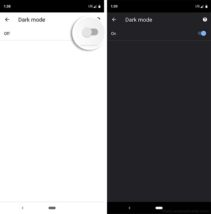 Turn ON Google Chrome Dark Mode Toggle in App Settings