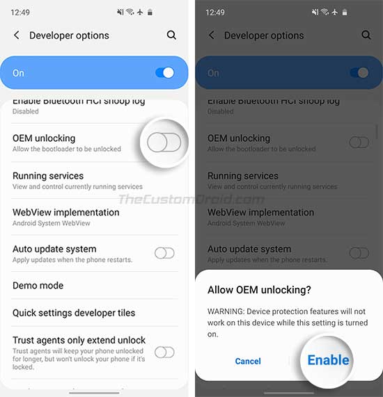 Enable OEM Unlocking toggle on Samsung Galaxy S10/S10+/S10e