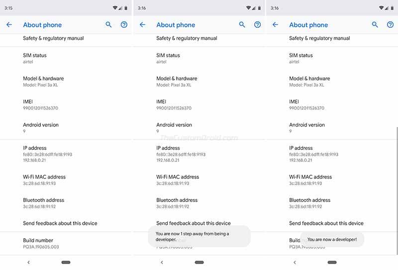 Enable Developer Options on Google Pixel 3a/Pixel 3a XL