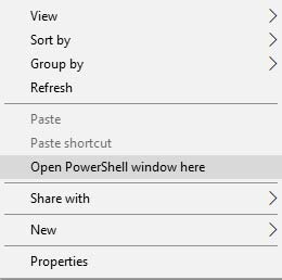 Установите устройство Android Q Project Treble - откройте окно PowerShell здесь