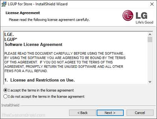 Accept the License Terms in LGUP Tool Installer Window