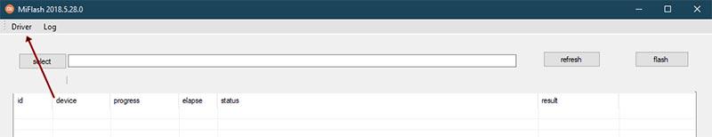 Нажмите на опцию «Драйвер» в MiFlash Tool.