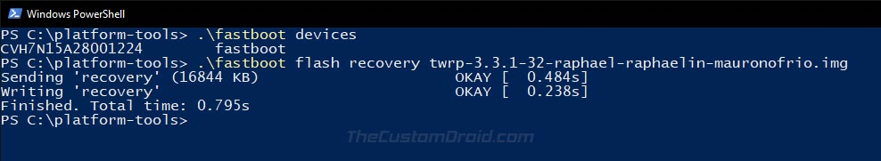 Flash TWRP Recovery on Redmi K20 Pro via Fastboot Command
