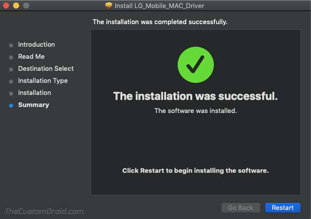 LG Mobile USB Driver on macOS - Installation Finished