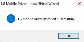 LG Mobile USB Driver on Windows - Installation Finished