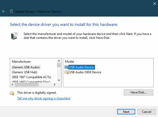 Manually Install Xiaomi USB Drivers - Click on the 'Have Disk' Option