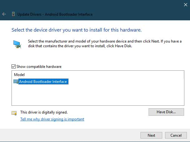 Manually Install Xiaomi USB Drivers - Select 'Android Bootloader Interface'