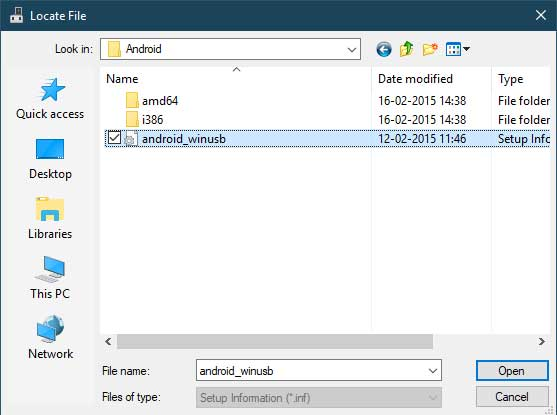 Manually Install Xiaomi USB Drivers - Select the 'android_winusb.inf' file