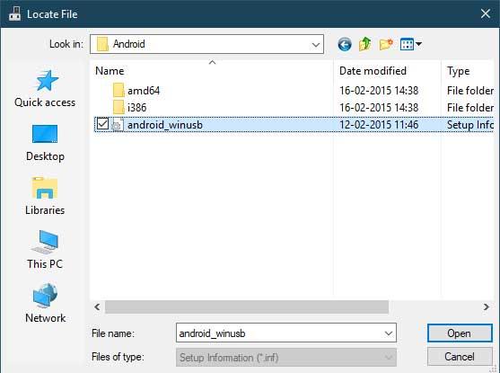 Установите USB-драйверы Xiaomi вручную - выберите файл android_winusb.inf