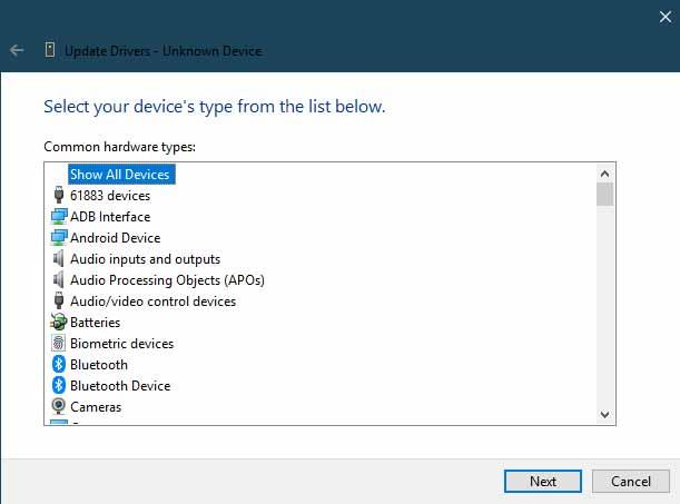 Установите USB-драйверы Xiaomi вручную - Показать все устройства
