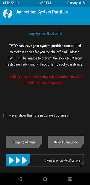 Boot LG V30 into TWRP Recovery - Swipe to Allow Modifications