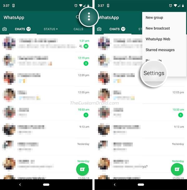Enable WhatsApp Fingerprint Lock Feature - Go to Settings