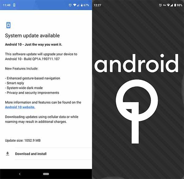 Essential Phone Android 10 Q OTA Update - Screenshot