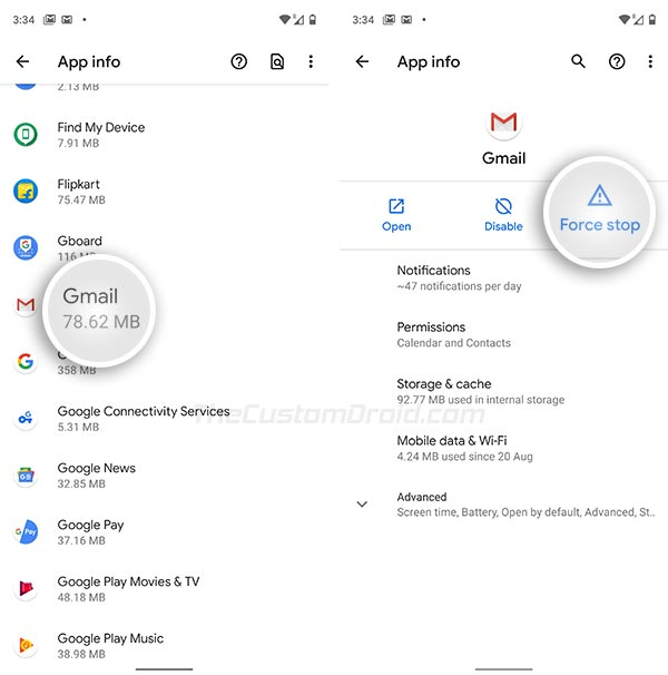 Force Stop Gmail App in Settings