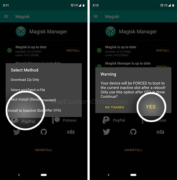 Install Magisk to Inactive Slot in Magisk Manager