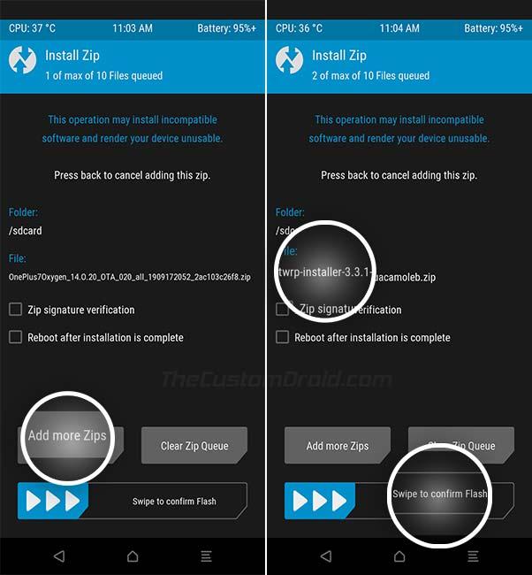 Install OnePlus 7/7 Pro OxygenOS 10 using TWRP - Select TWRP Installer Zip