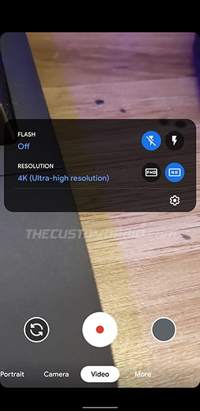 4K Recording quick settings in Google Camera 7.6