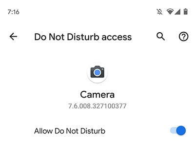 Grant Do Not Disturb access to Google Camera v7.6