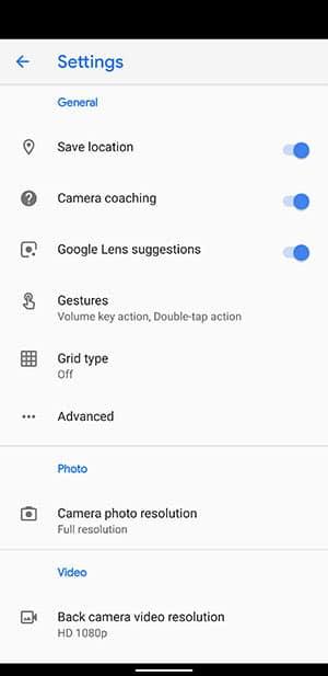 PPixel 4 Google Camera 7.0 App - New Options in App Settings