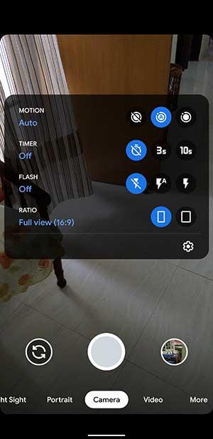 Pixel 4 Google Camera 7.0 App - Rounded Viewfinder Corners and Swipe-down Menu